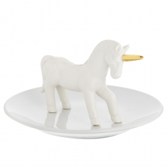 Golden Unicorn White Jewellery Dish