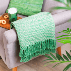 Green Herringbone Blanket Throw