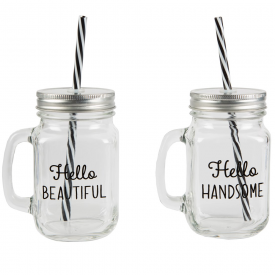 Hello Handsome & Beautiful Drinking Mason Jars