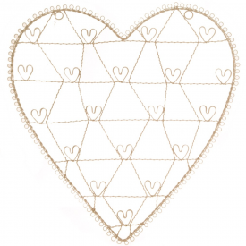 Large Cream Vintage, Wire Heart Photo Holder