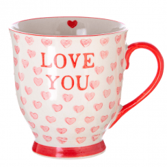 Love You Valentines Hearts Mug