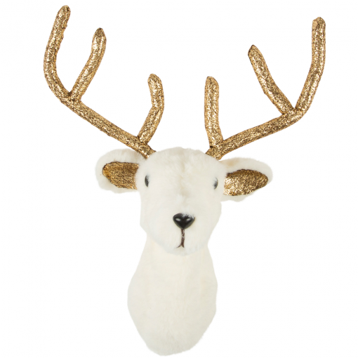 Sass & Belle White Gold Stag Head Wall Decoration @ Flamingo Gifts