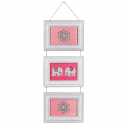 Mandala Elephant Triple Hanging Wooden Photo Frame