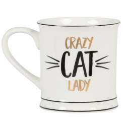 Metallic Monochrome Crazy Cat Lady Mug