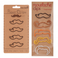 Moustache Black or Multi-coloured Paperclips