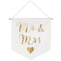 Mr & Mrs Gold Message Flag