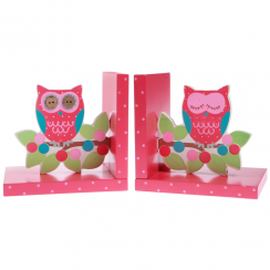 Owl & Branch Pink Bookends