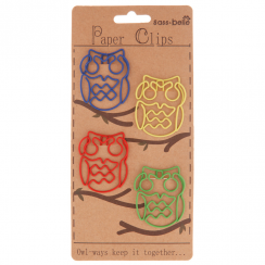 Owl Set of 4 Multicoloured Paperclips