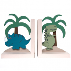 Pair of Wooden Dinosaur Bookends