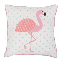 Pink Trim Flamingo Cushion