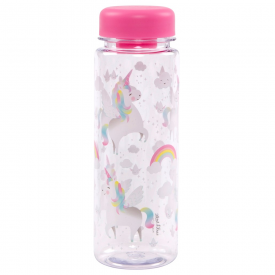 Rainbow Unicorn Clear Water Bottle