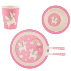 Rainbow Unicorn Eco Bamboo Tableware Set