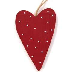 Red Spotty Wooden Heart