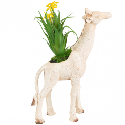 Rustic Cream Giraffe Decoration with Flowers