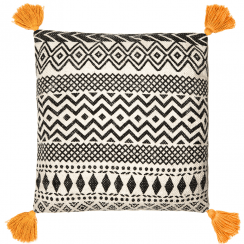 Scandi Boho Mustard Tassels Cotton Cushion