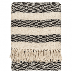 Scandi Boho White Tassel Cotton Blanket Throw