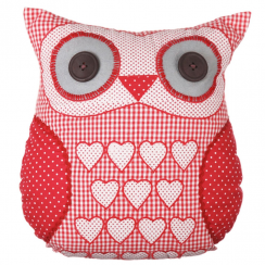 Scarlet Red Heart Owl Cushion