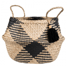 Seagrass Tribal Pattern Tassel Basket