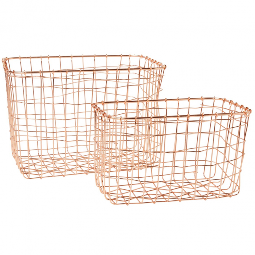 Set of 2 Wire Mesh Rectangular Baskets in Copper