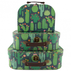 Set of 3 Colourful Cactus Suitcases