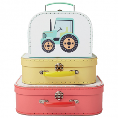 Set of 3 Illustrated Trucks Suitcases