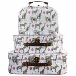 Set of 3 Party Safari Animals Suitcases