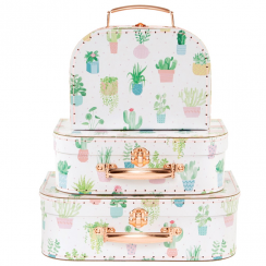 Set of 3 Pastel Cactus Suitcases