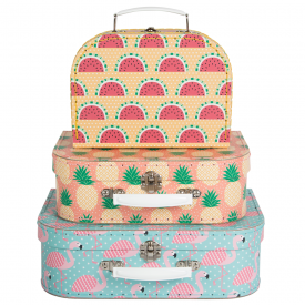Set of 3 Tropical Summer Suitcases