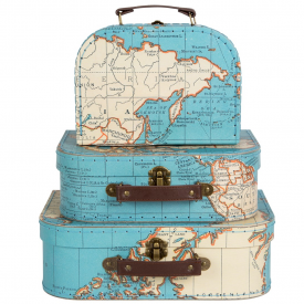 Set of 3 Vintage Map Suitcases