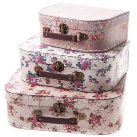 Set of 3 Vintage Rose Suitcase's