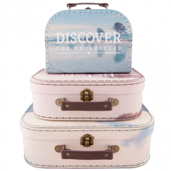 Set of 3 Wanderlust Adventure Suitcases