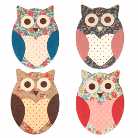 Set of 4 Owl Floral Nail Files