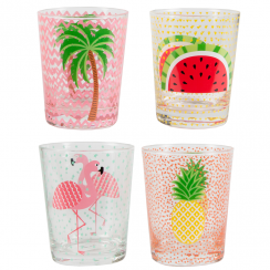 Set of 4 Tropical Summer Glass Tumblers