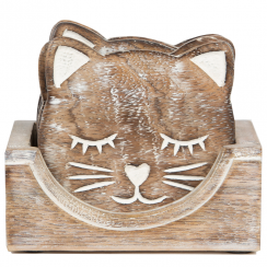 Set of 6 Carved Cat Coasters