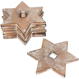 Set of 6 Rustic White Star Coasters