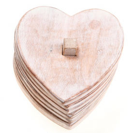 Set of 6 Wooden Heart Shaped Coasters