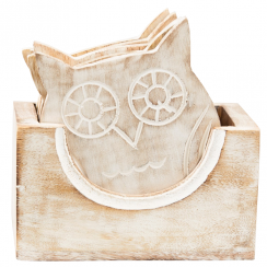 Set of 6 Wooden White Owl Coasters