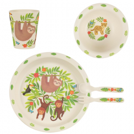 Sloth and Friends Eco Bamboo Tableware Set