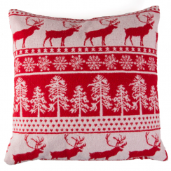 Tree & Reindeer Fair Isle Style Red Cushion