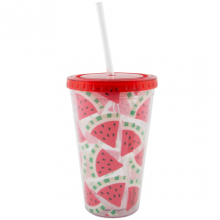 Tropical Watermelon Drinks Cup with Straw