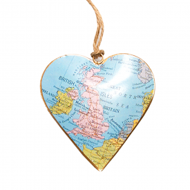UK Large Map, Vintage Hanging Heart