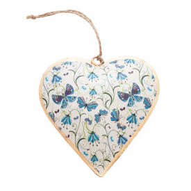 Vintage Blue Butterfly Hanging Heart