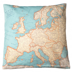 Vintage Cotton Map Cushion