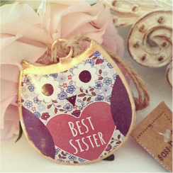 Violet Mini Best Sister Hanging Owl