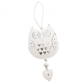 White Vintage Hanging Owl Decoration
