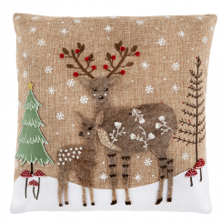Winter Forest Folk Deer Cushion