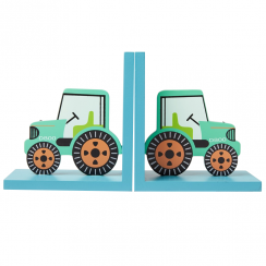 Wooden Green Tractor Bookends