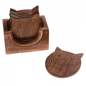 Wooden Owl Coaster Set