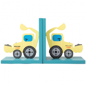 Yellow Digger Wooden Bookends