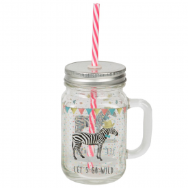 Zebra Mason Jar with Straw